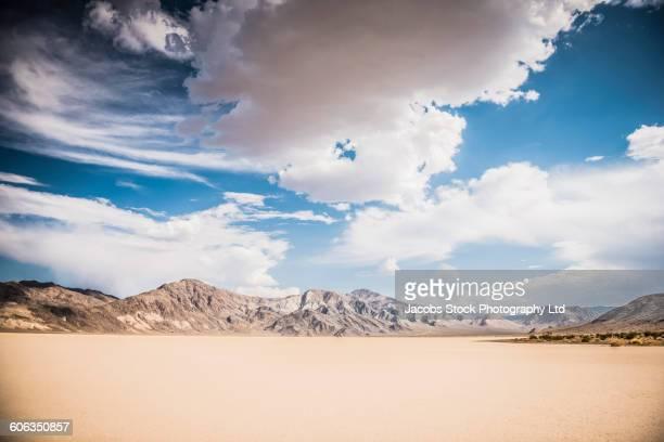 Mountain range in desert landscape