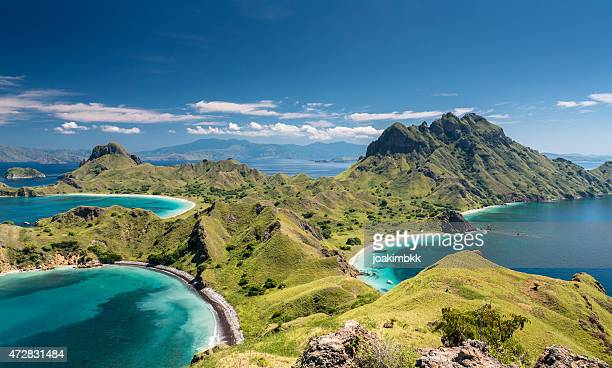 mountain range in komodo national park in indonesia - island stock pictures, royalty-free photos & images