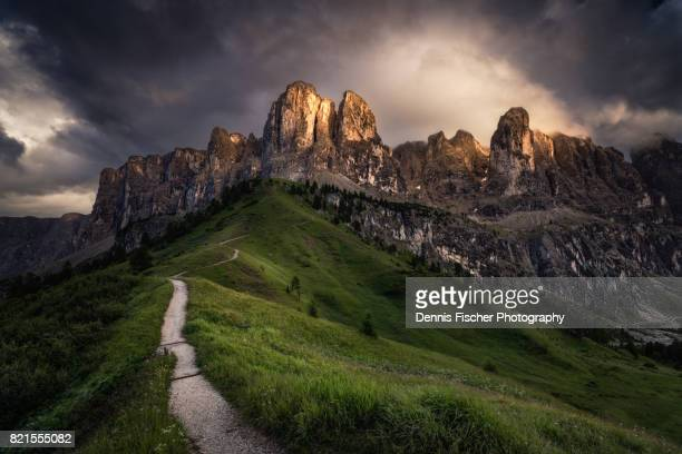 Mountain Range in the Dolomites during sunset
