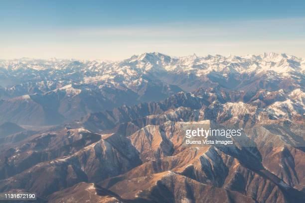 mountain range in winter. - monte rosa foto e immagini stock