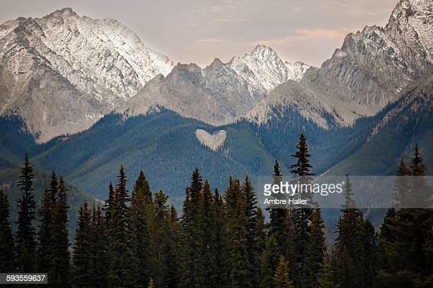 Mountain range with a heart shape on the side