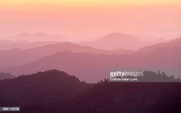 mountain ranges at dusk, sierra nevada from sequoia national park, california usa - julian california stock photos and pictures