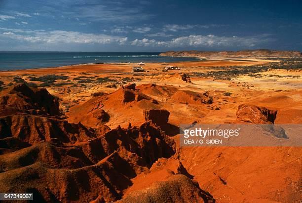 Mountain ranges of red earth, Araya peninsula, Sucre state, Venezuela.