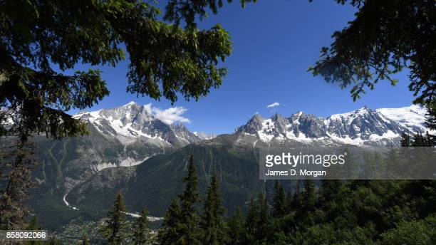 Mountain ranges of the french alps as seen from across the Chamonix valley in France at June 16th 2017