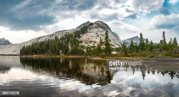 Mountain reflected in a lake, Lower Cathedral Lake, Sierra Nevada, Yosemite National Park, Cathedral Range, California, USA