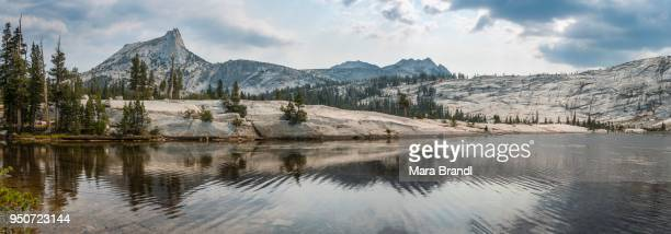 Mountain reflected in lake, Cathedral Peak, Lower Cathedral Lake, Sierra Nevada, Yosemite National Park, Cathedral Range, California, USA
