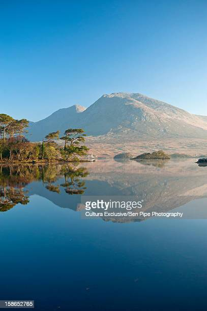Mountain reflected in still lake