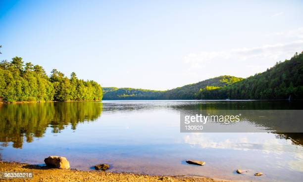 mountain reflected on the lake - lake stock pictures, royalty-free photos & images