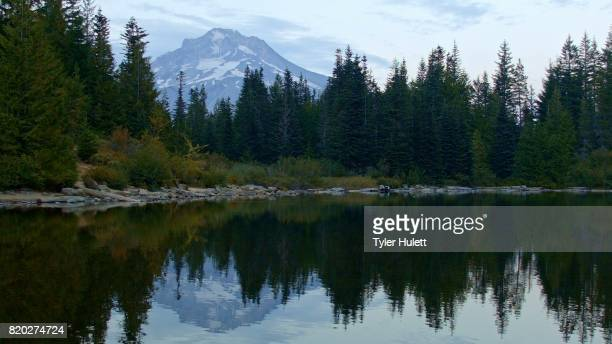 mountain reflection sunset wide mirror lake mt. hood oregon cascades 9 - mt hood national forest stock pictures, royalty-free photos & images