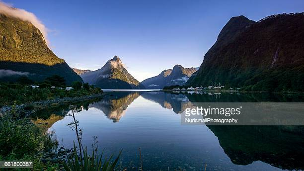 Mountain Reflections in Milford Sound, South island, New Zealand