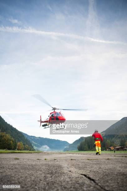 Mountain Rescue Helicopter Takes Off
