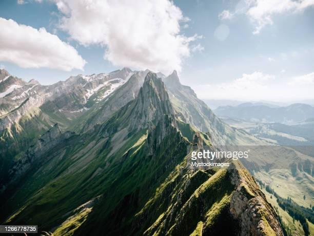 mountain ridge in appenzellerland canton - schweizerische kultur stock-fotos und bilder