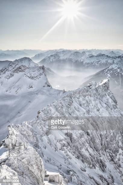 Mountain ridge in the Wetterstein mountain range
