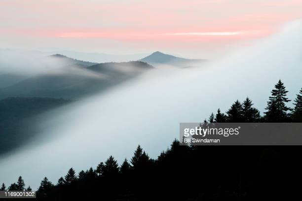 mountain ridges along blue ridge parkway with dramatic fog and pink sky at sunset - ノースカロライナ州 ストックフォトと画像