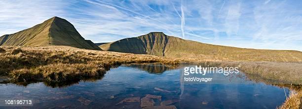 Mountain ridges golden grasslands clear blue lake panorama Wales UK
