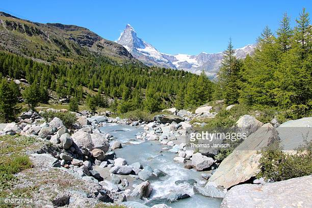 Mountain river and landscape with Matterhorn in the back