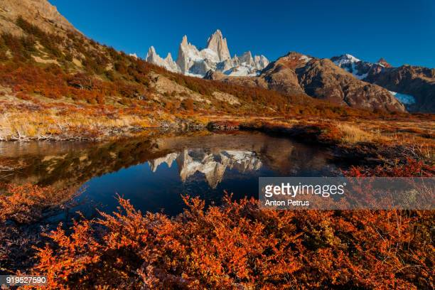 Mountain River and Mount Fitz Roy. Patagonia, Argentina
