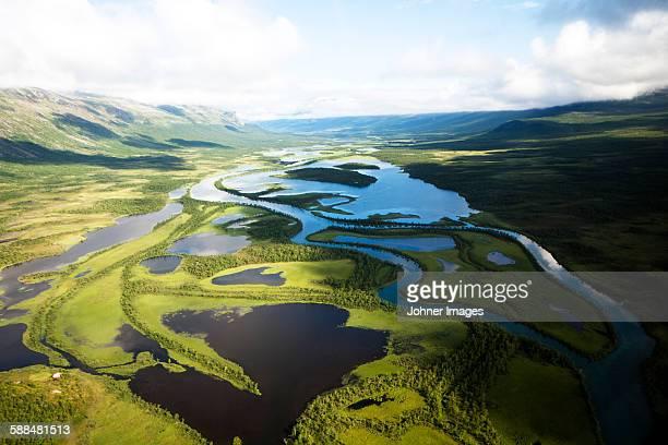 Mountain river,  high angle view