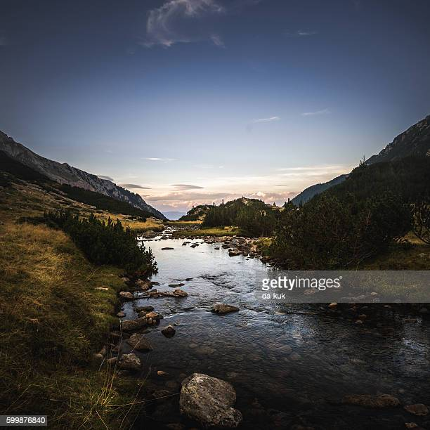 Mountain river in the eveninng