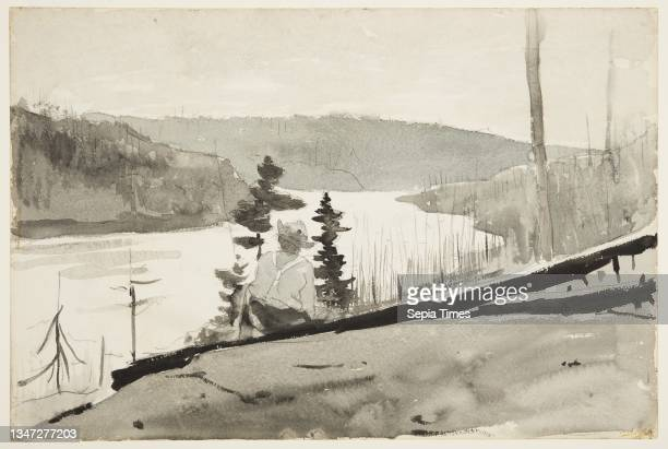 Mountain River or Lake, Winslow Homer, American, 1836–1910, Brush and wash, chalk, graphite on paper, Recto: View of a sloping hill with a male...