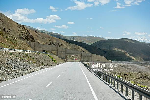 Mountain road and tunnel near Erzincan of Turkey