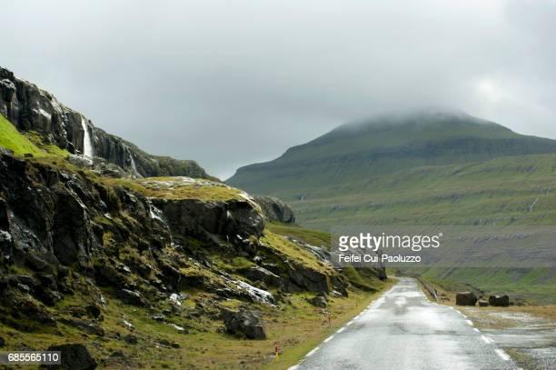 Mountain road at Funningsfjordur of Eysturoy Island, Faeroe Islands