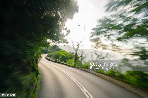 Mountain road at high speed motion blur