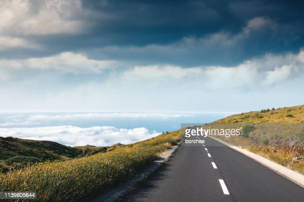 mountain road in madeira - madeira island stock photos and pictures
