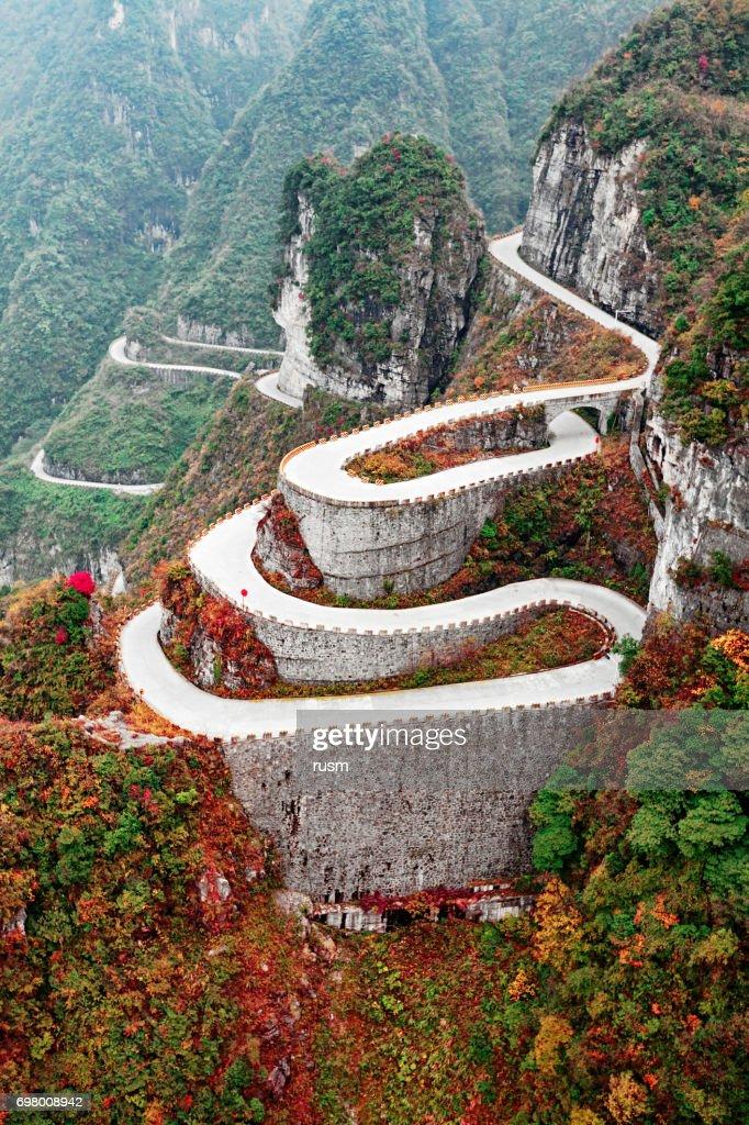 Mountain road in Tianmen Mountain National Park, Zhangjiajie, China : Stock Photo