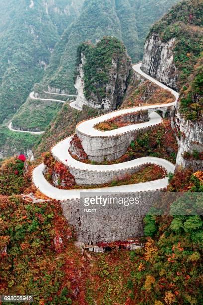 Mountain road in Tianmen Mountain National Park, Zhangjiajie, China