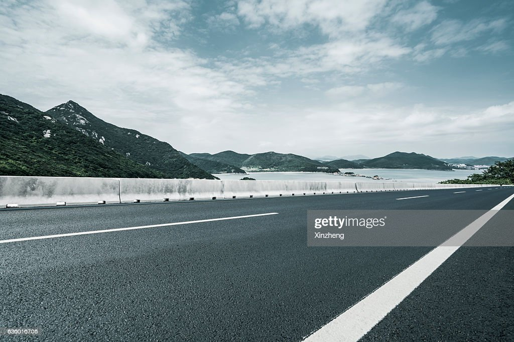 Mountain Road LandscapeAuto Advertisement Background Stock Photo