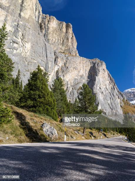 Mountain road leading up to Mountain Pass Sellajoch - Passo Sella in the Dolomites of South Tyrol - Alto Adige. Approach from Fassa Valley - Val di...