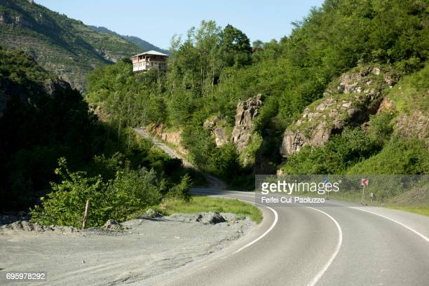 mountain road near torul gümüşhane province, black sea region, turkey - curved arrows stock photos and pictures