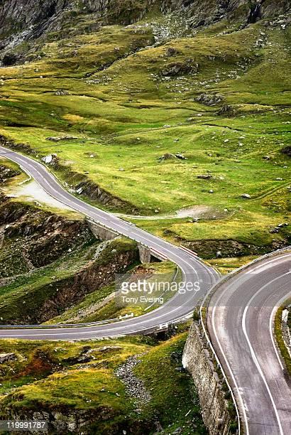 Mountain road on Fagaras mountains, Romania