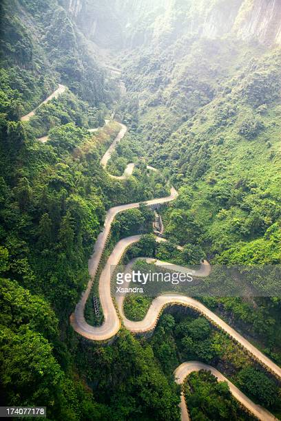 mountain road - tianmen stock pictures, royalty-free photos & images