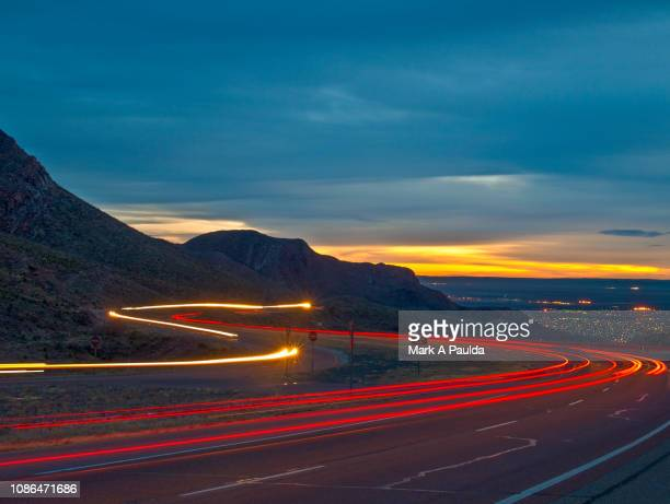 mountain road sunrise - el paso texas stock pictures, royalty-free photos & images
