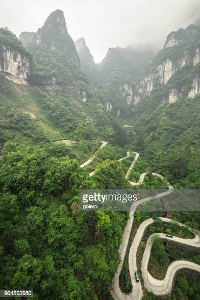 Mountain road to Tianmen mountain