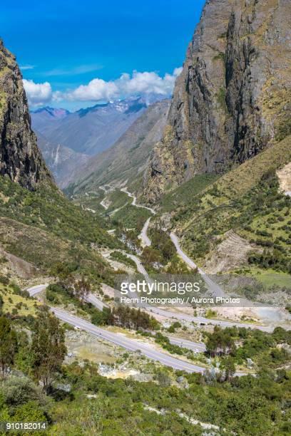Mountain road towards Abra Malaga pass, Ollantaytambo, Cusco Region, Peru