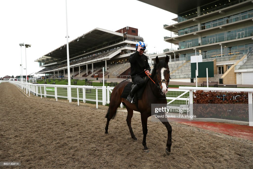 Mountain Rock ridden by Davy Russell makes his way to the gallops during Champion Day of the 2017 Cheltenham Festival at Cheltenham Racecourse.