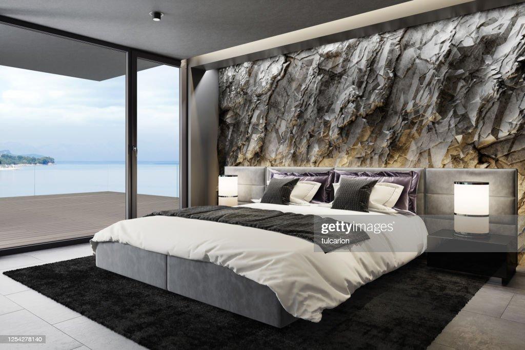 Parete Di Pietra Di Roccia Di Montagna In Lussuoso Appartamento Master Camera Da Letto Interno Foto Stock Getty Images