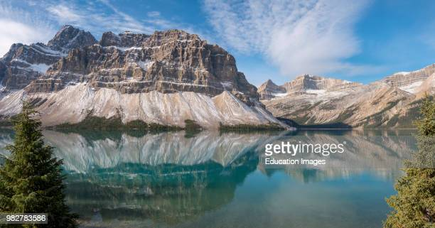 Mountain scenery at Bow Lake and Crowfoot Mountain. Ice field Parkway, Highway, Alberta. Canada.
