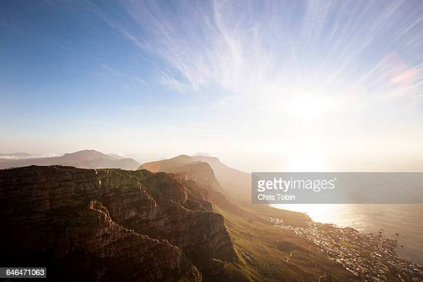 mountain scenery seen from table mountain - table mountain stock pictures, royalty-free photos & images