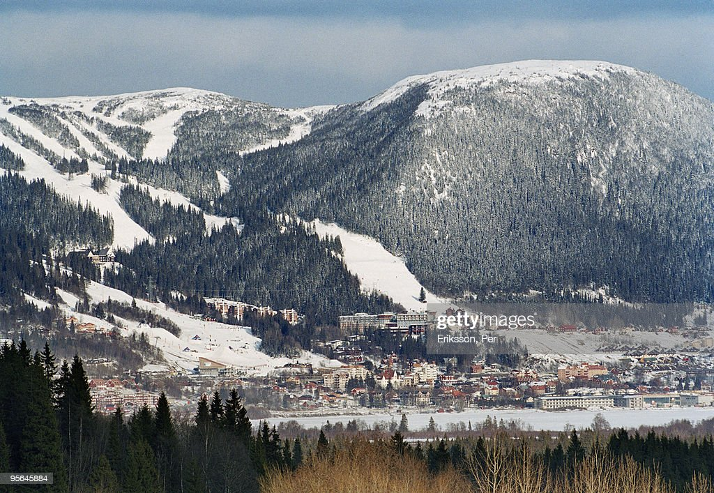 Mountain scenery with a village, Are, Sweden. : Stock Photo