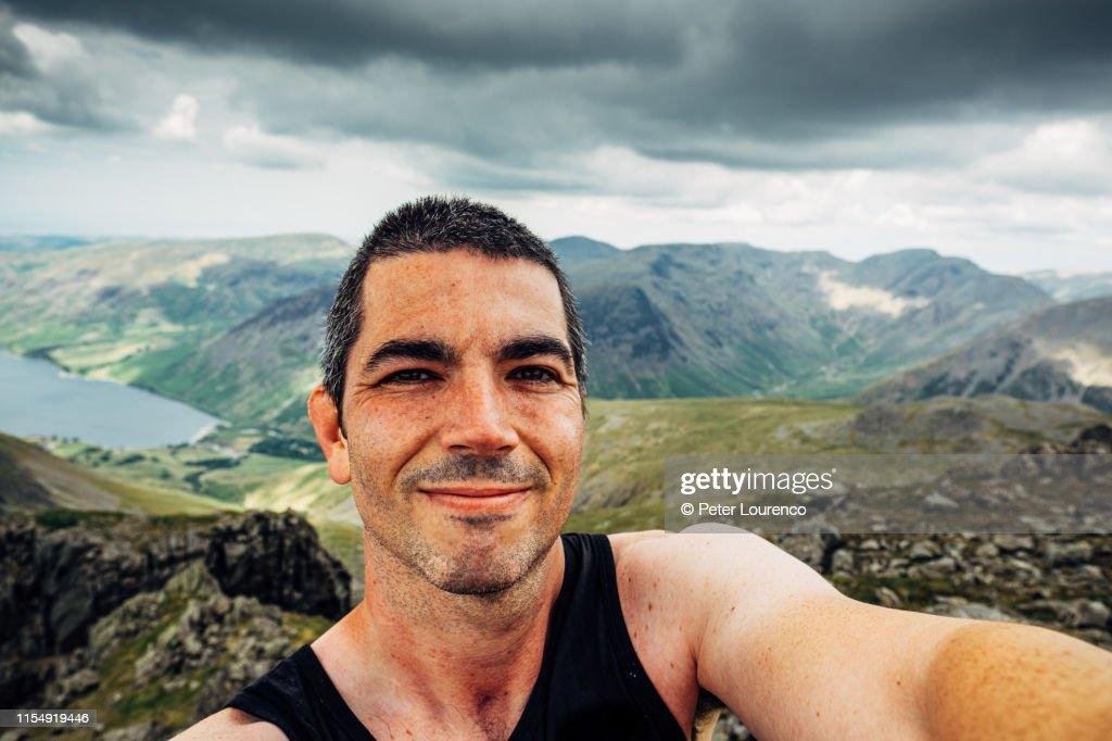Mountain selfie : Stock Photo