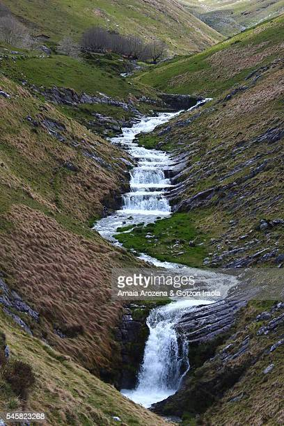 Mountain stream in Mines valley in Aralar Mountain Range, Basque Country
