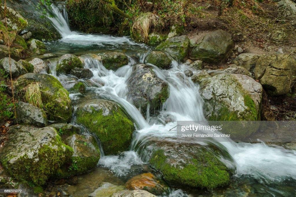 A mountain stream of crystalline water flows between rocks with small waterfalls. : Stock Photo