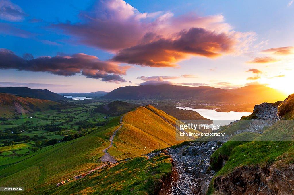 Mountain sunrise. Lake District National park. UK. : Stock Photo