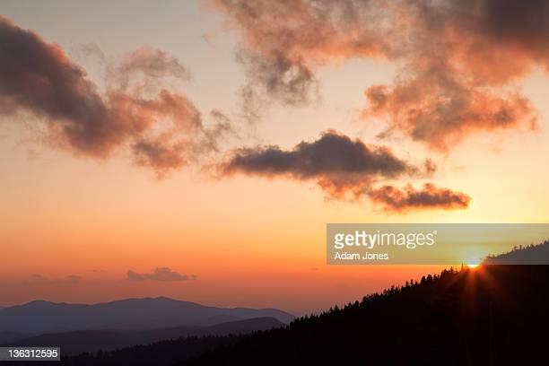 mountain sunset from clingman's dome - clingman's dome fotografías e imágenes de stock