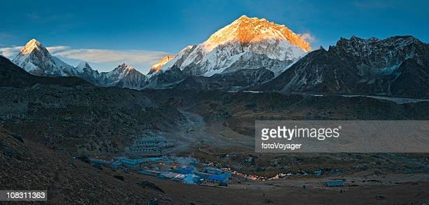 Mountain sunset high altitude snow summits Everest NP Himalayas Nepal