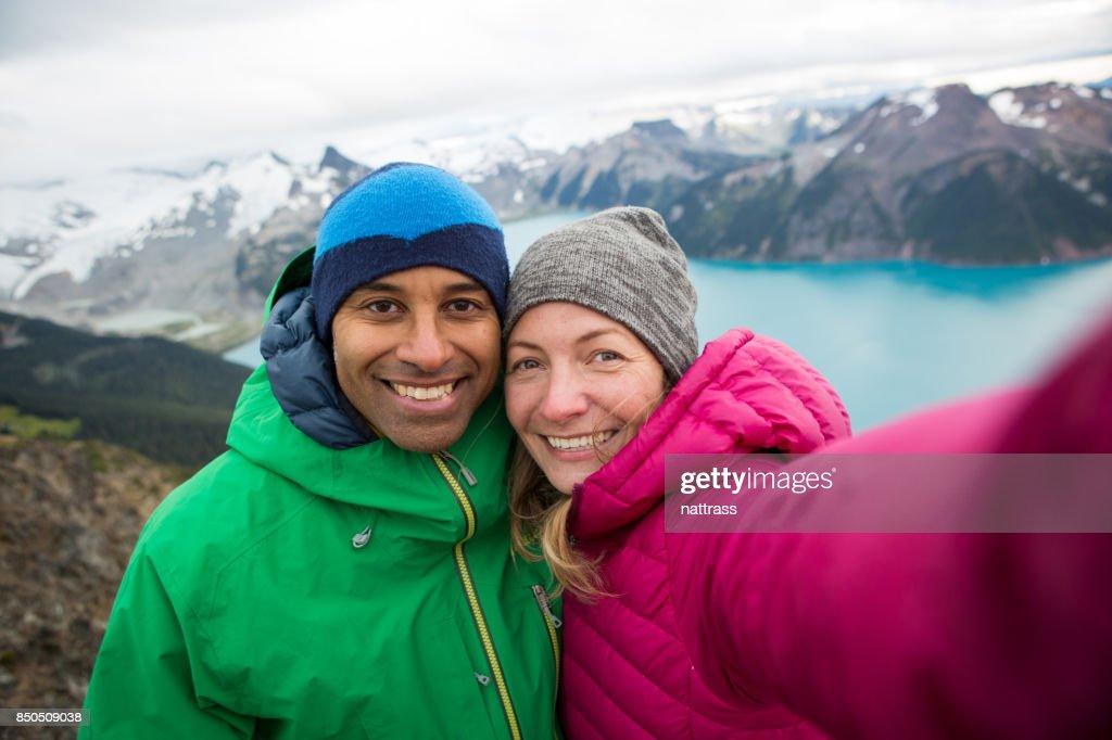 Mountain top selfie : Stock Photo